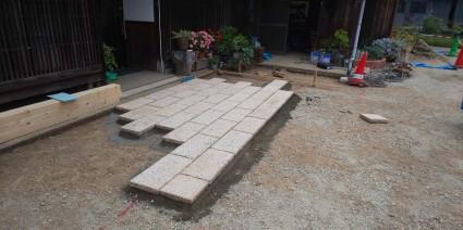 佐用町アプローチ板石敷き工事