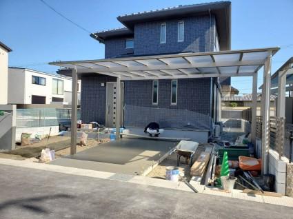 姫路外構工事|フラット屋根のカーポート