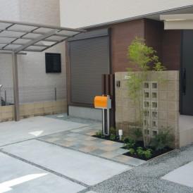 化粧ブロック門柱のオープン外構