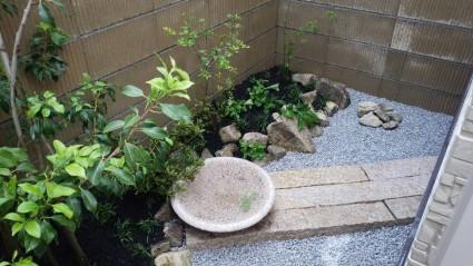 姫路坪庭工事|ノベ石と水鉢