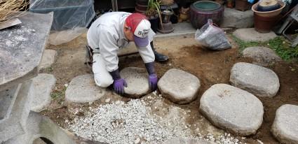 姫路市和庭リフォーム工事|飛び石再利用