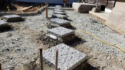 たつの市庭コンクリート工事|石ポイント貼り