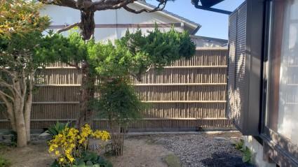 和室横ブロック塀に目隠し竹垣