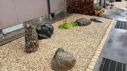 佐用町ガーデンリフォーム|庭石再利用和モダンの庭