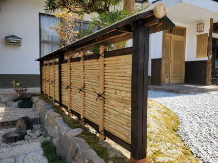 佐用町和庭リフォーム|天然竹の御簾垣