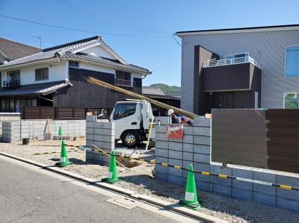 新築外構|門廻りブロック積み