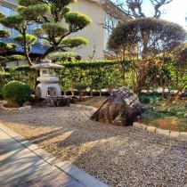 佐用町庭リフォーム|モルタル下地の化粧砂利敷