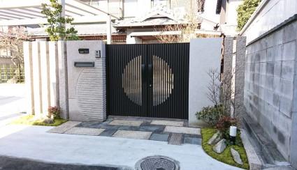 姫路市和風外構|門扉と石門柱