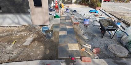 姫路市外構 石貼りアプローチ