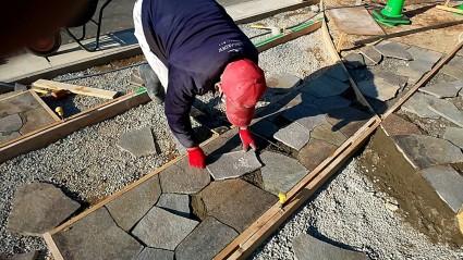 山崎町外構工事 自然石貼り