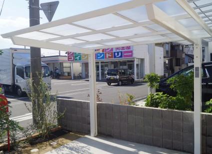 サイクルポートのある外構 姫路