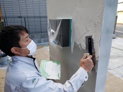 一条工務店のお家の外構 塗り壁仕上げ