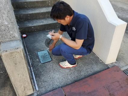 たつの市外構工事|コンクリートのタイル貼り