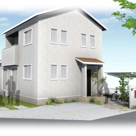 太子町外構|真っ白な塗り壁門柱と赤色ポスト