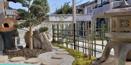 姫路市ガーデンリフォーム|灯篭を再利用したお庭工事