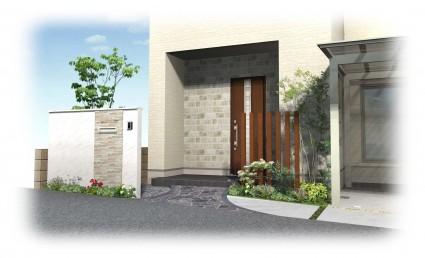 姫路市外構工事|アプローチ自然石貼り
